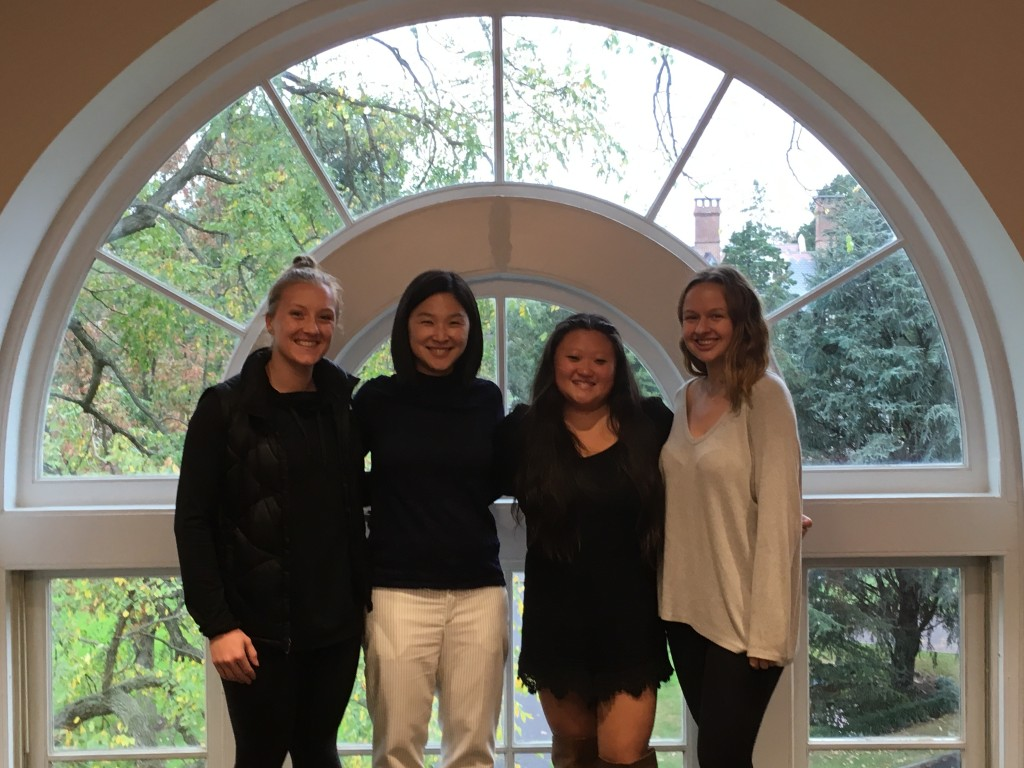 Wang Lab 2017-2018; Senior thesis students (from left to right): Rachel Romens, Jia-Ling Tuan, Grace Fioramonti-Gorchow